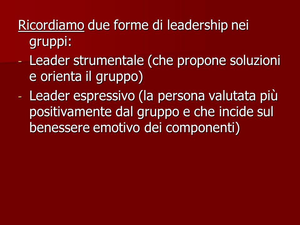 Ricordiamo due forme di leadership nei gruppi: