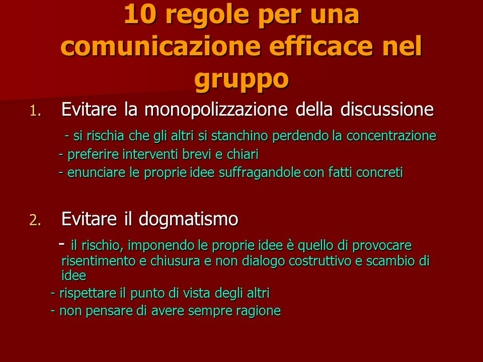 10 regole per una comunicazione efficace nel gruppo