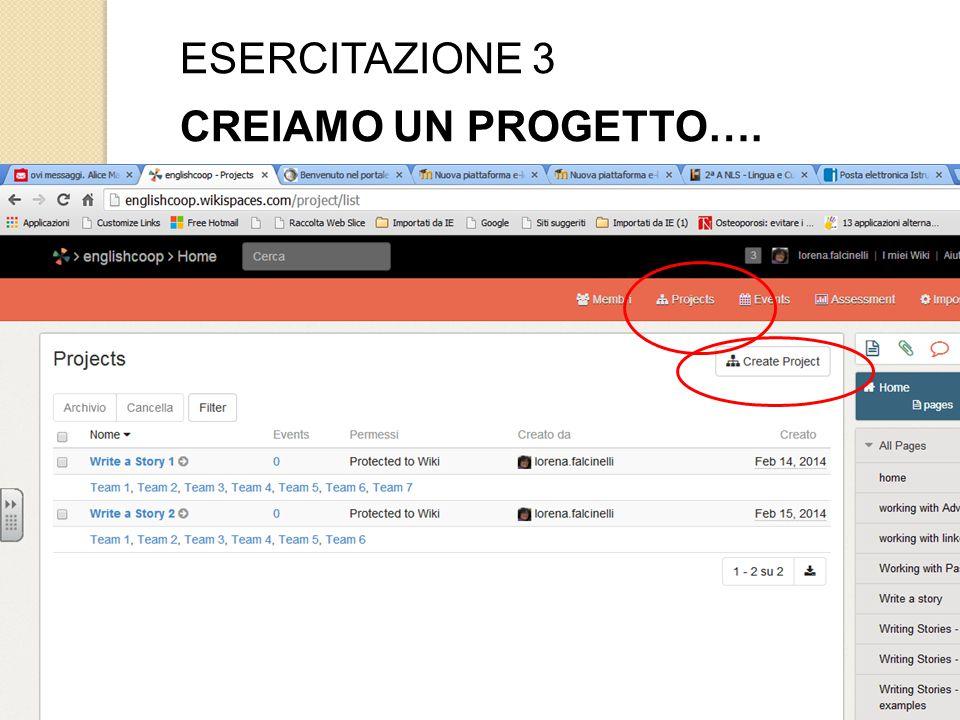 ESERCITAZIONE 3 CREIAMO UN PROGETTO….