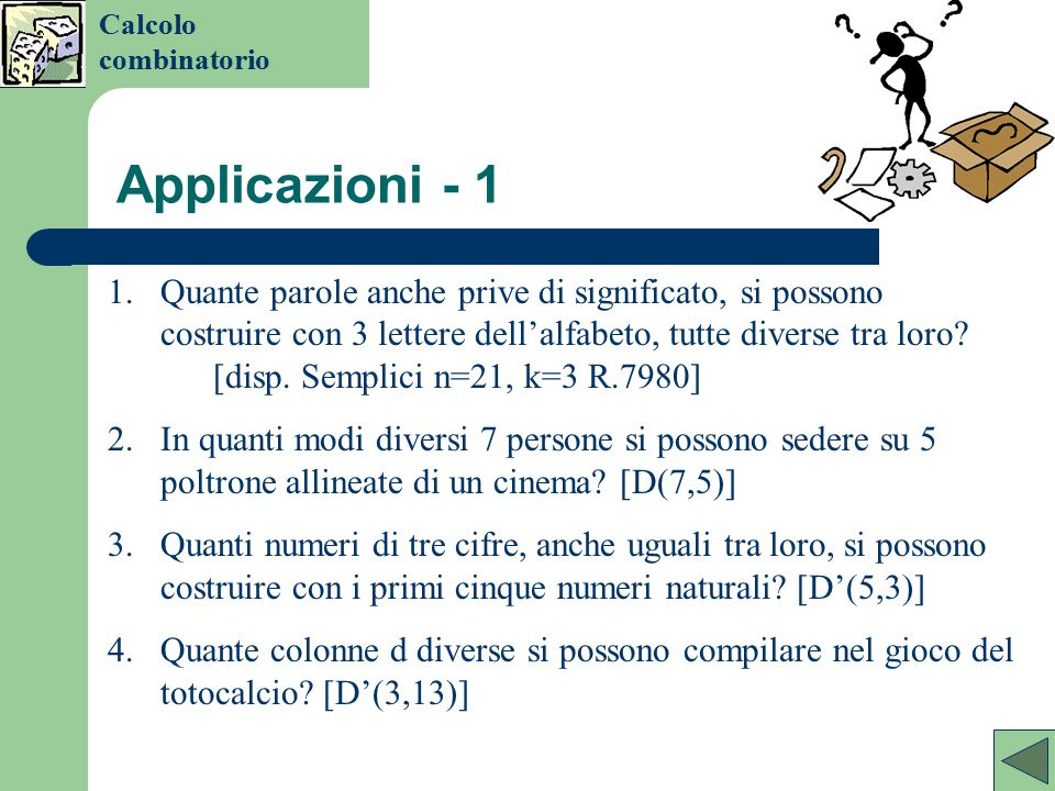 Calcolo combinatorio Applicazioni - 1.