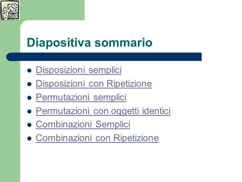 Diapositiva sommario Disposizioni semplici