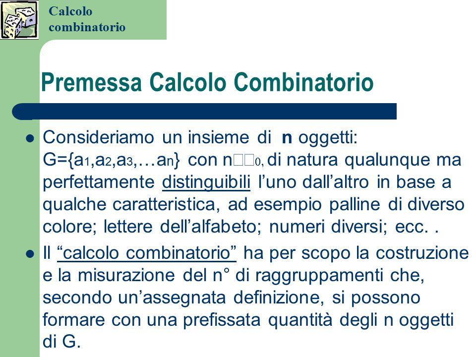 Premessa Calcolo Combinatorio