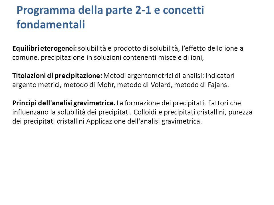 Programma della parte 2-1 e concetti fondamentali