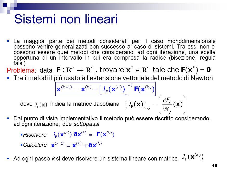 Sistemi non lineari Problema: data