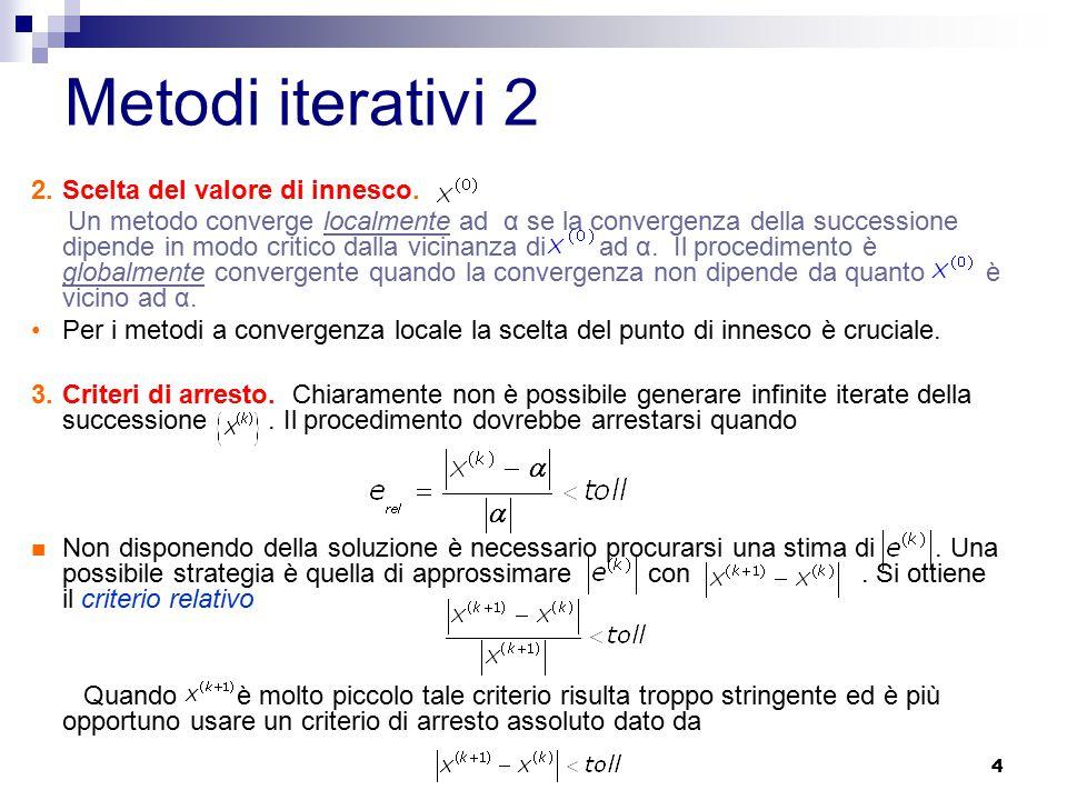 Metodi iterativi 2 Scelta del valore di innesco.