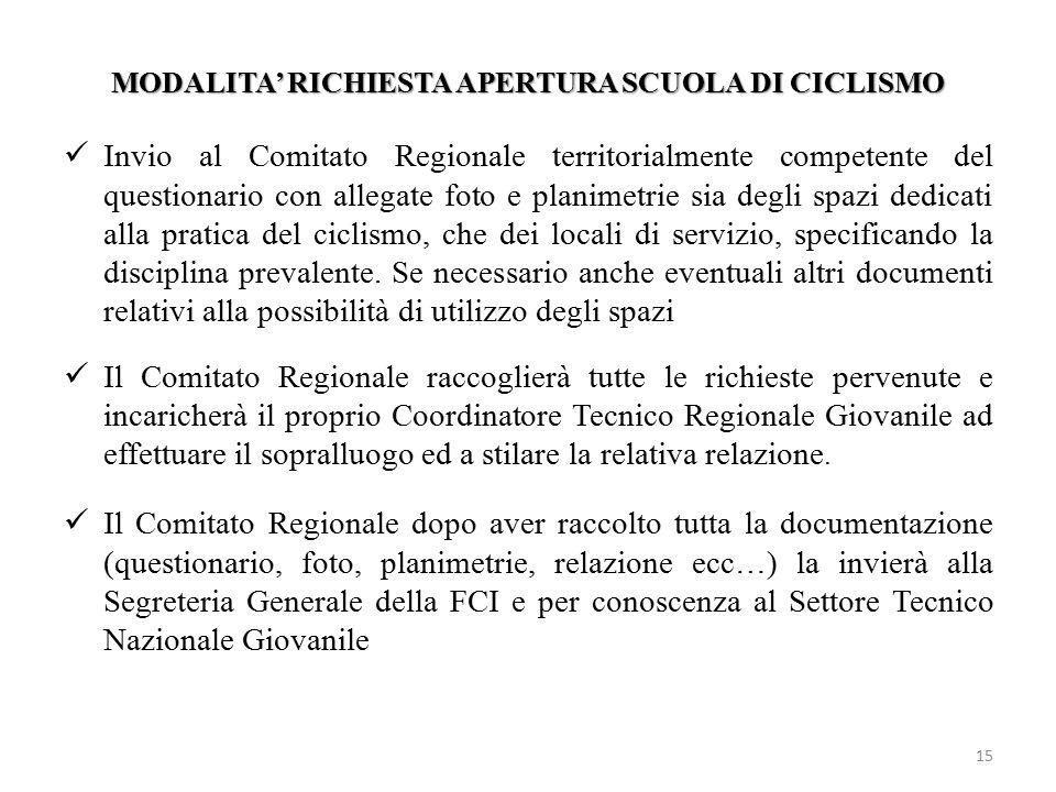 MODALITA' RICHIESTA APERTURA SCUOLA DI CICLISMO