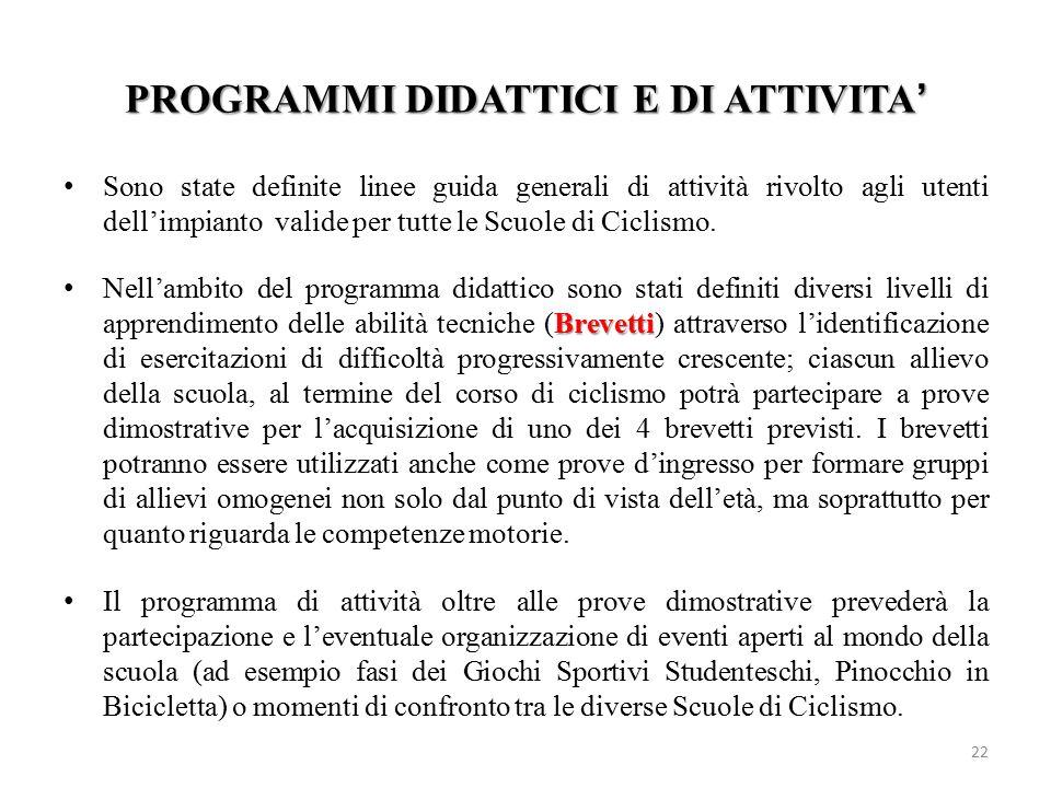 PROGRAMMI DIDATTICI E DI ATTIVITA'