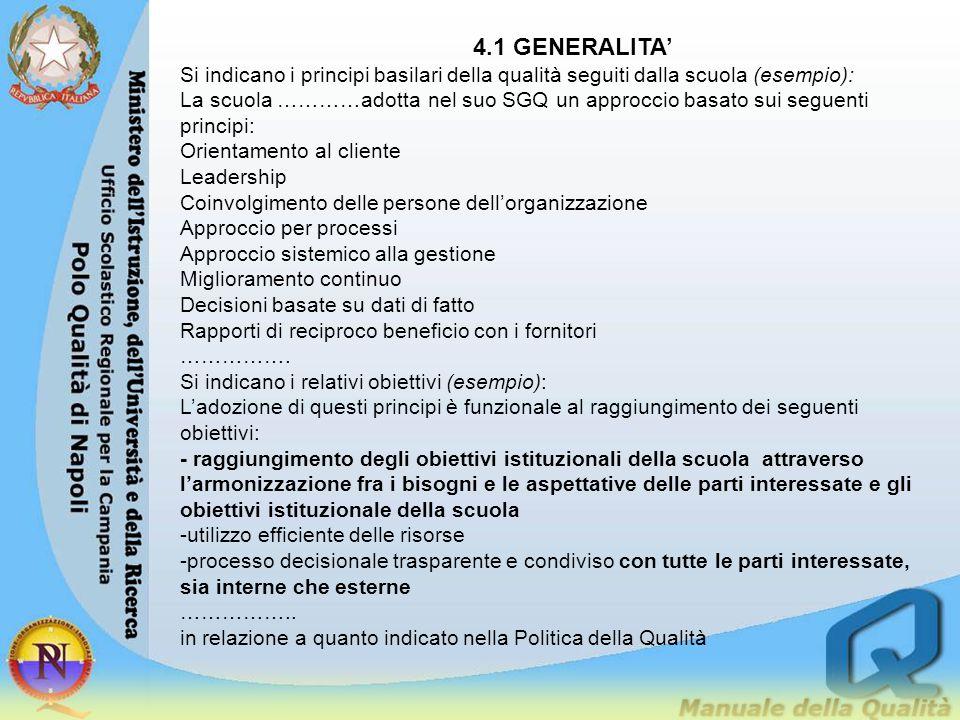 4.1 GENERALITA' Si indicano i principi basilari della qualità seguiti dalla scuola (esempio):