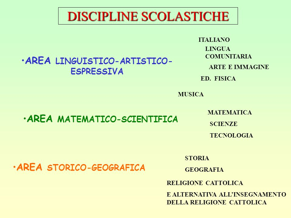 AREA LINGUISTICO-ARTISTICO-ESPRESSIVA AREA MATEMATICO-SCIENTIFICA