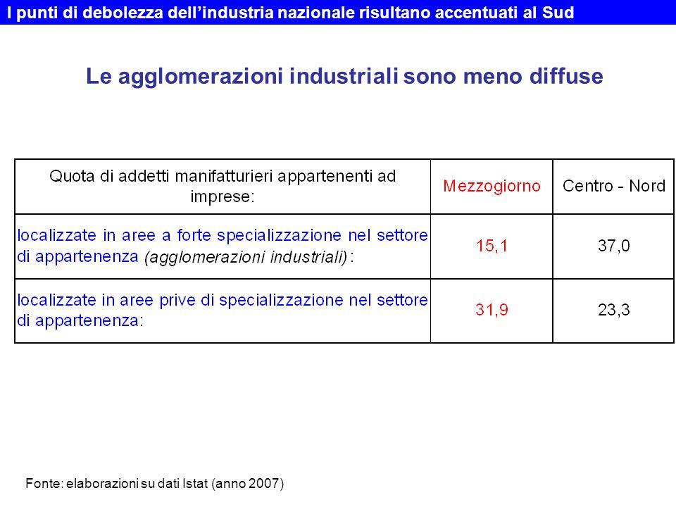 Le agglomerazioni industriali sono meno diffuse