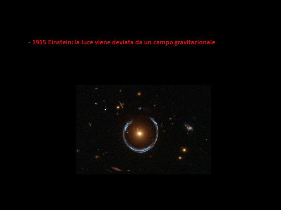 - 1915 Einstein: la luce viene deviata da un campo gravitazionale
