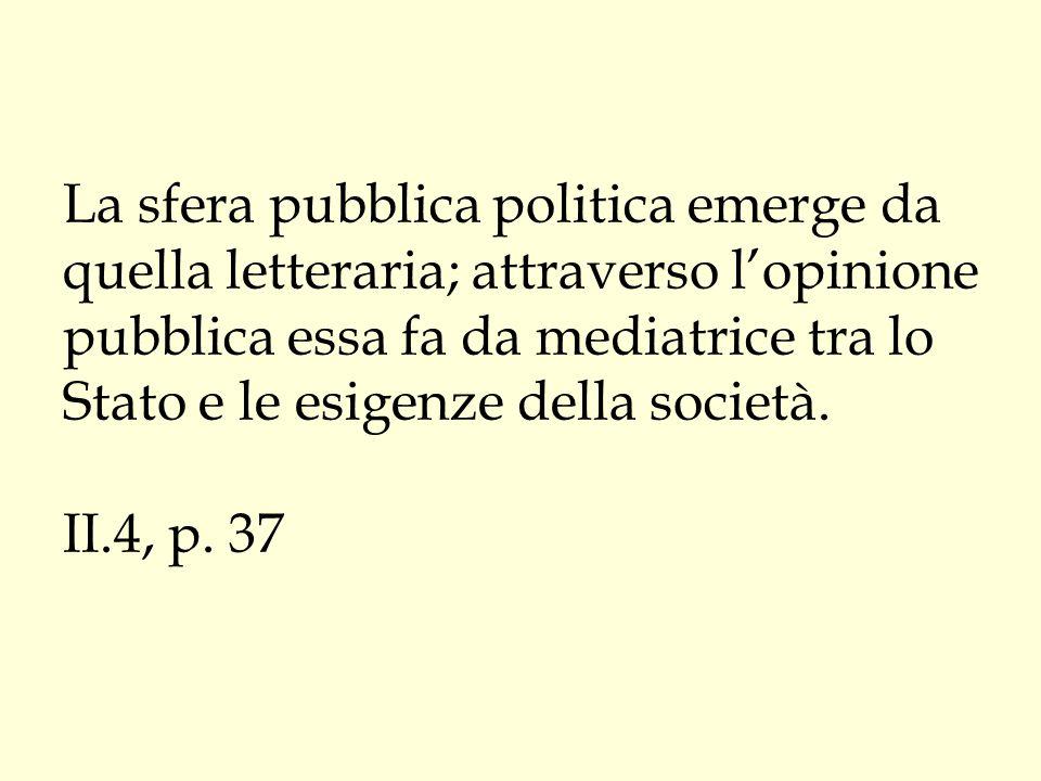 La sfera pubblica politica emerge da quella letteraria; attraverso l'opinione pubblica essa fa da mediatrice tra lo Stato e le esigenze della società.