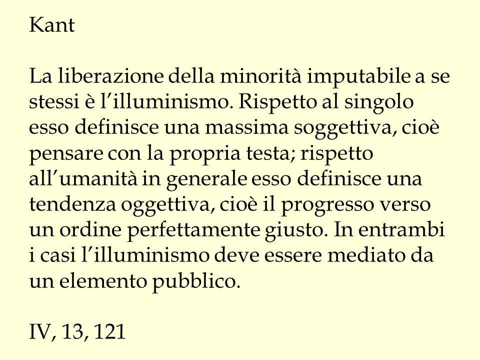 Kant La liberazione della minorità imputabile a se stessi è l'illuminismo.