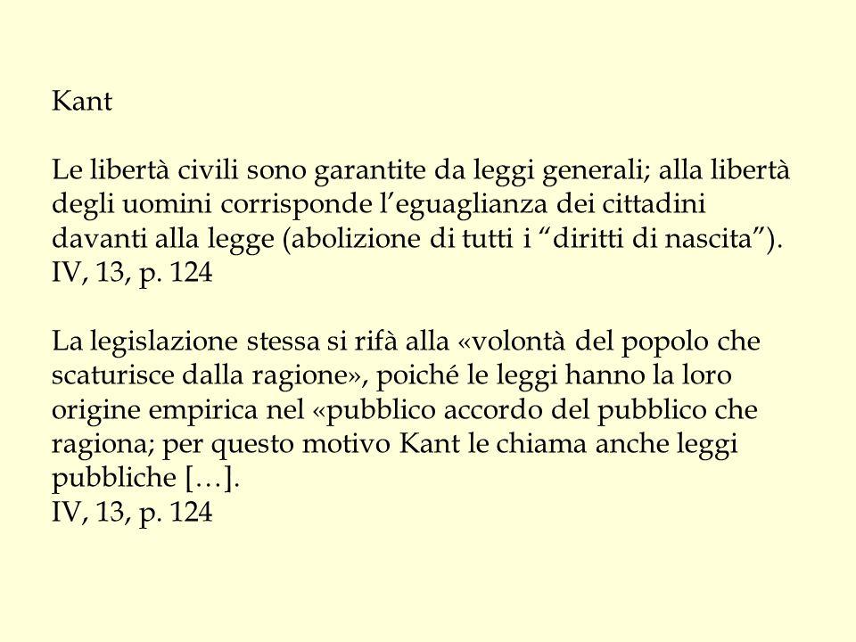 Kant Le libertà civili sono garantite da leggi generali; alla libertà degli uomini corrisponde l'eguaglianza dei cittadini davanti alla legge (abolizione di tutti i diritti di nascita ).