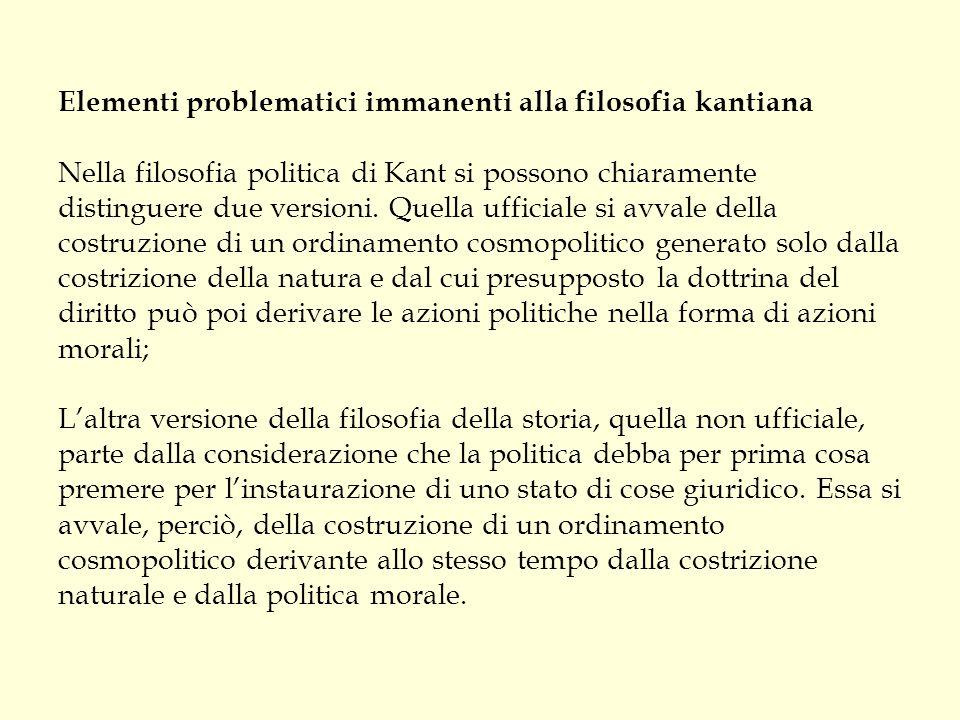 Elementi problematici immanenti alla filosofia kantiana Nella filosofia politica di Kant si possono chiaramente distinguere due versioni.