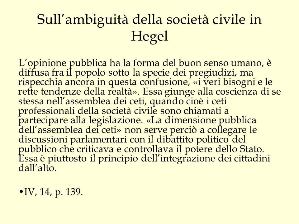 Sull'ambiguità della società civile in Hegel
