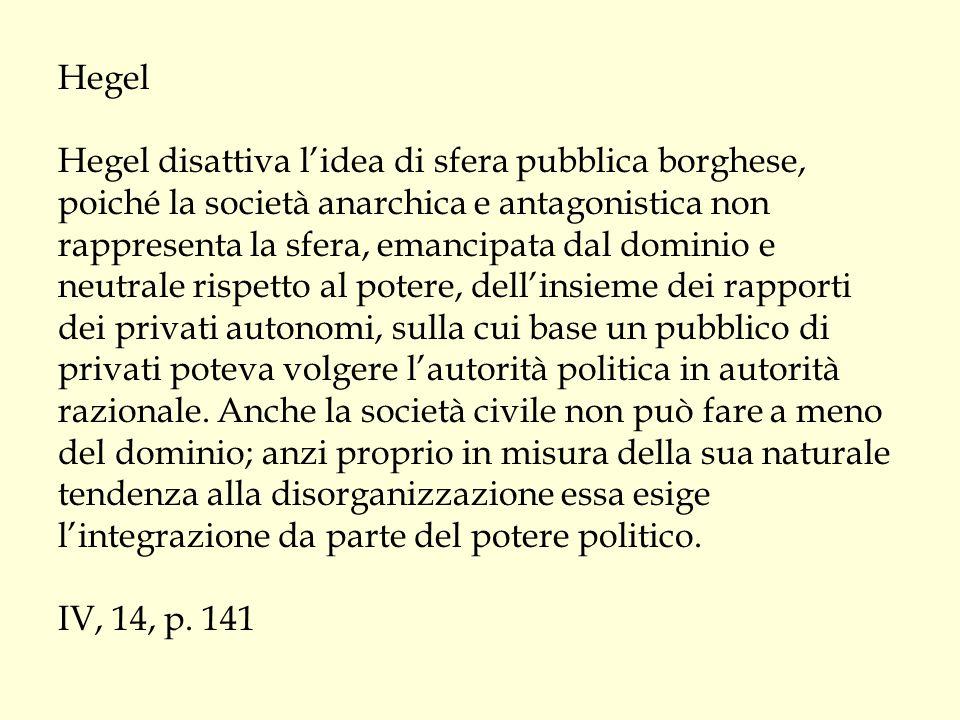 Hegel Hegel disattiva l'idea di sfera pubblica borghese, poiché la società anarchica e antagonistica non rappresenta la sfera, emancipata dal dominio e neutrale rispetto al potere, dell'insieme dei rapporti dei privati autonomi, sulla cui base un pubblico di privati poteva volgere l'autorità politica in autorità razionale.