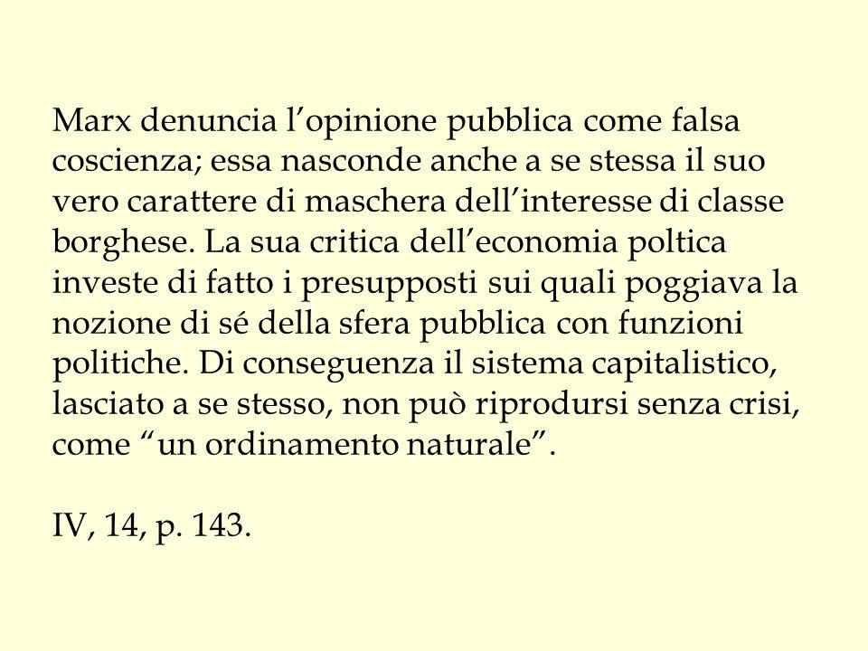Marx denuncia l'opinione pubblica come falsa coscienza; essa nasconde anche a se stessa il suo vero carattere di maschera dell'interesse di classe borghese.
