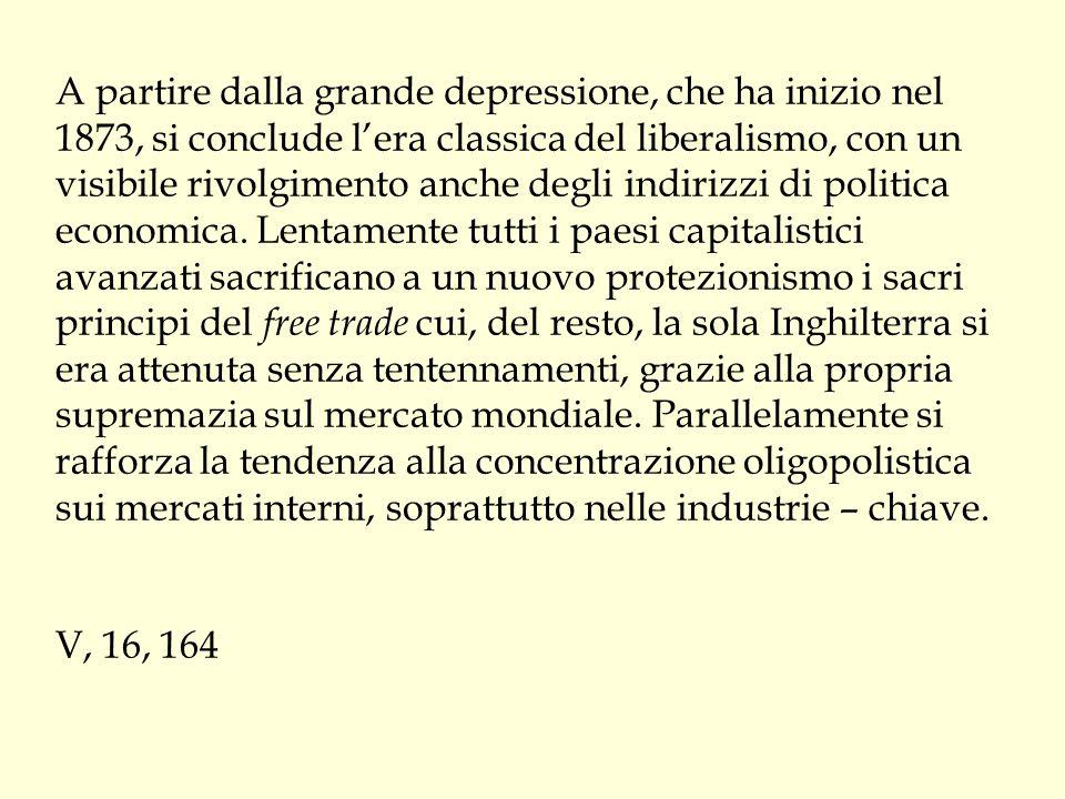 A partire dalla grande depressione, che ha inizio nel 1873, si conclude l'era classica del liberalismo, con un visibile rivolgimento anche degli indirizzi di politica economica.