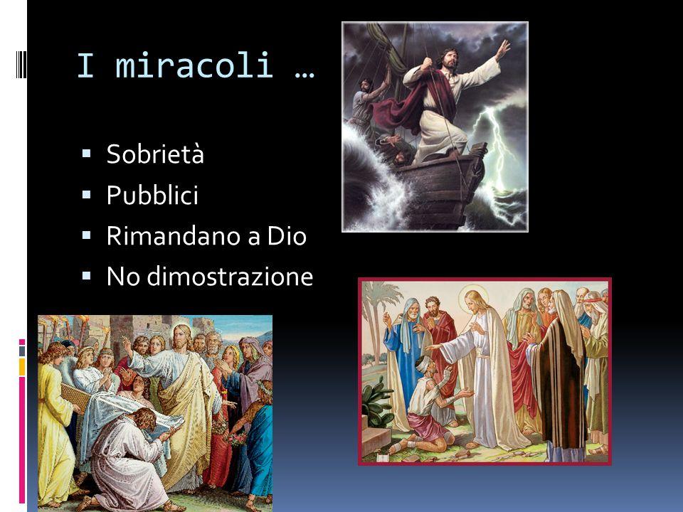 I miracoli … Sobrietà Pubblici Rimandano a Dio No dimostrazione