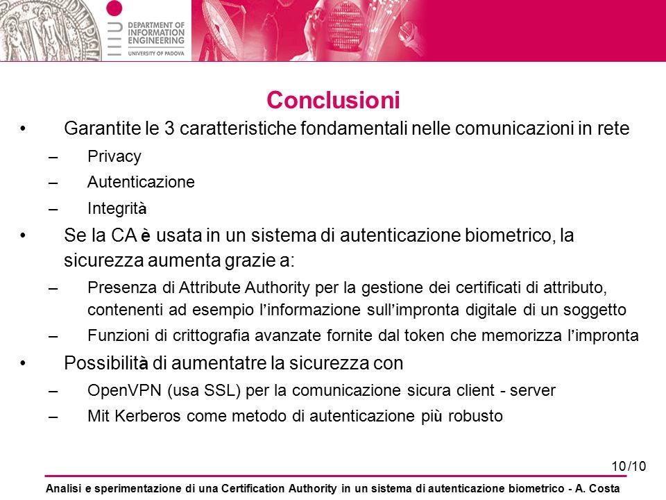 Conclusioni Garantite le 3 caratteristiche fondamentali nelle comunicazioni in rete. Privacy. Autenticazione.
