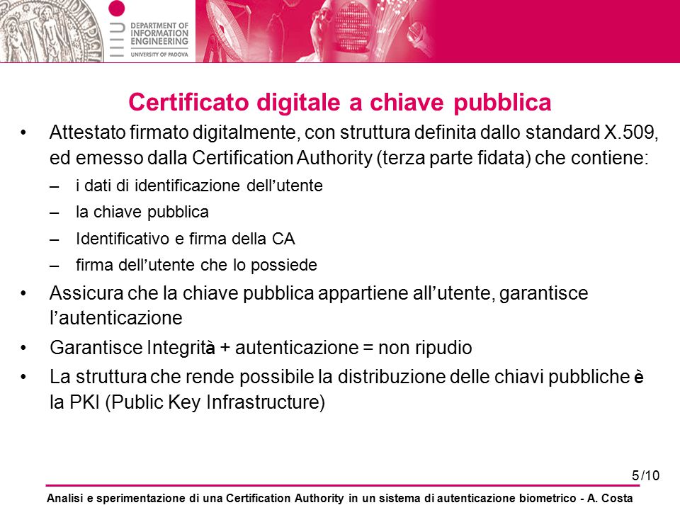 Certificato digitale a chiave pubblica
