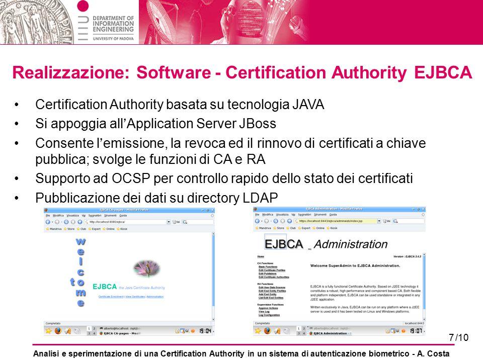 Realizzazione: Software - Certification Authority EJBCA