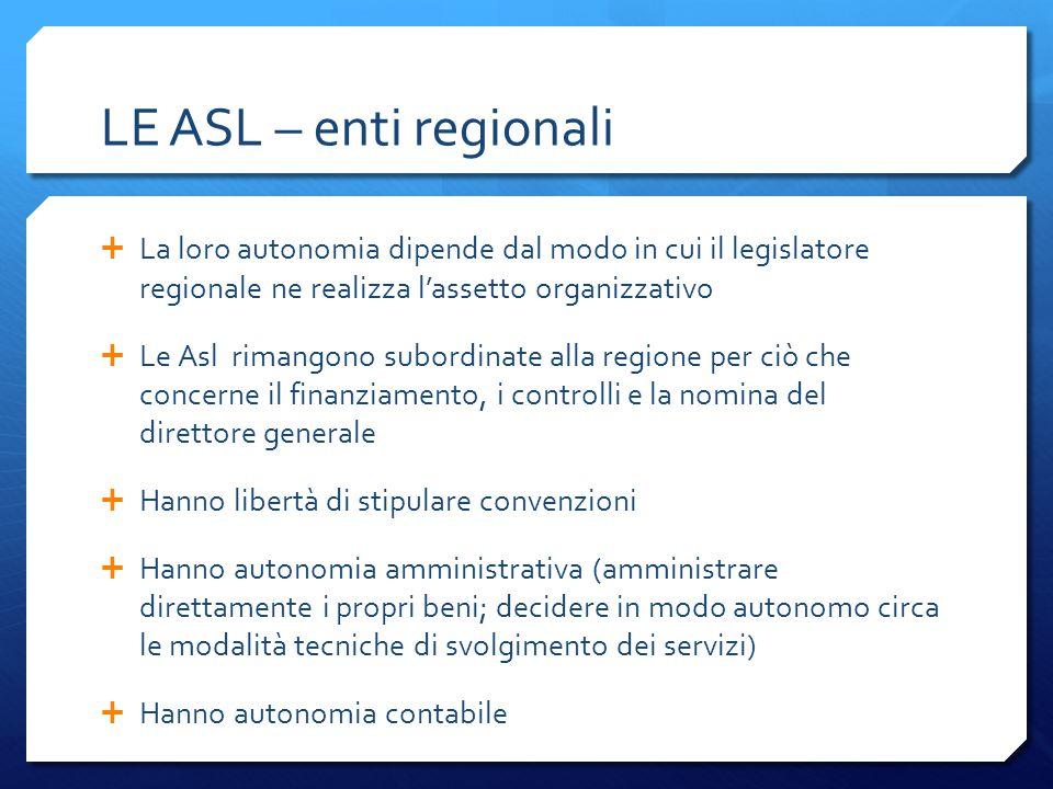 LE ASL – enti regionali La loro autonomia dipende dal modo in cui il legislatore regionale ne realizza l'assetto organizzativo.