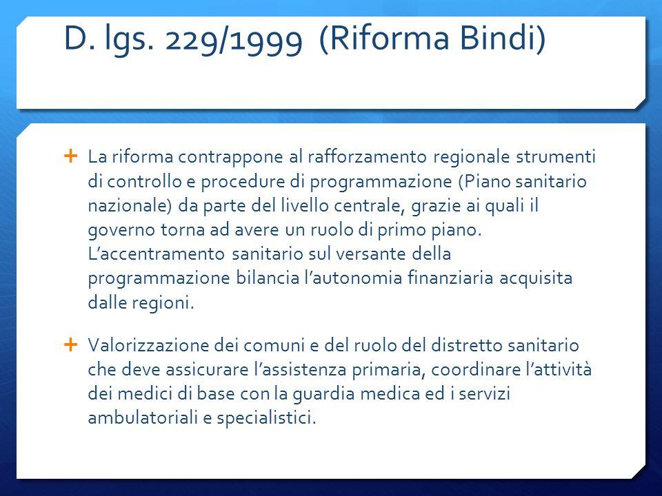 D. lgs. 229/1999 (Riforma Bindi)