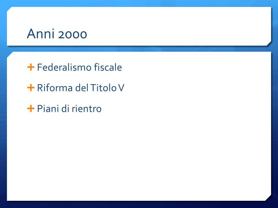 Anni 2000 Federalismo fiscale Riforma del Titolo V Piani di rientro