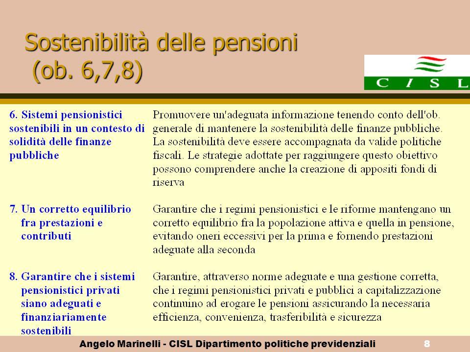Sostenibilità delle pensioni (ob. 6,7,8)