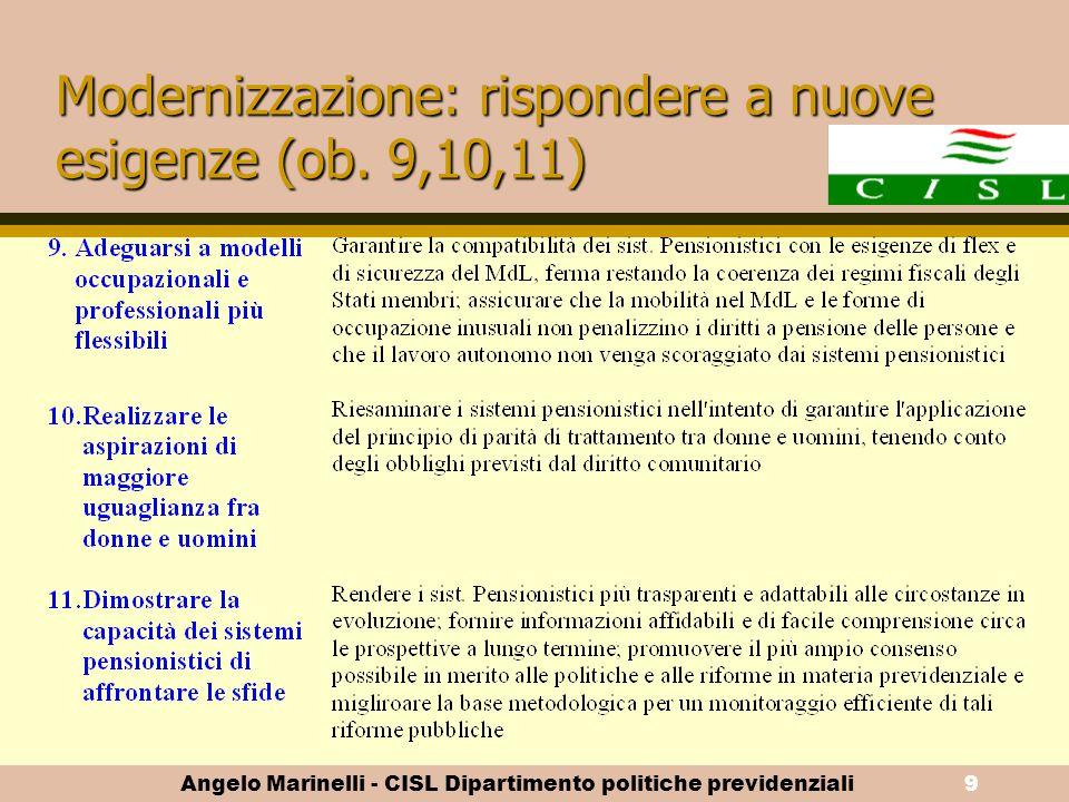 Modernizzazione: rispondere a nuove esigenze (ob. 9,10,11)