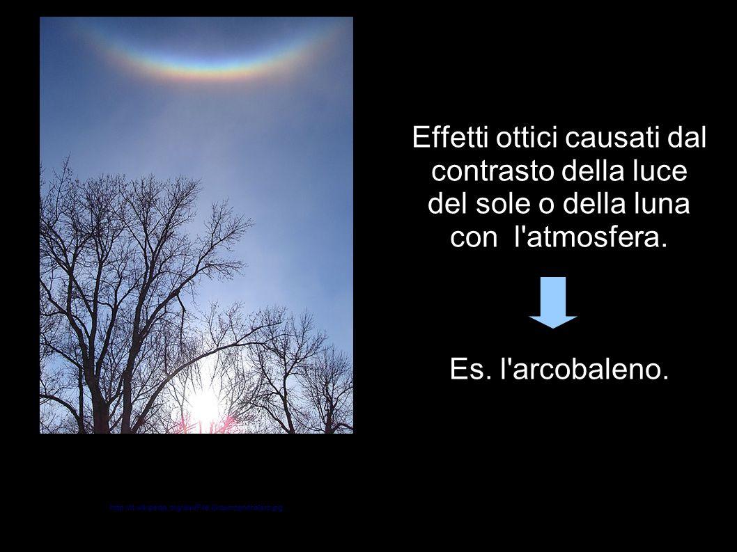 Effetti ottici causati dal contrasto della luce del sole o della luna con l atmosfera. Es. l arcobaleno.