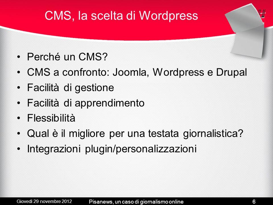 CMS, la scelta di Wordpress