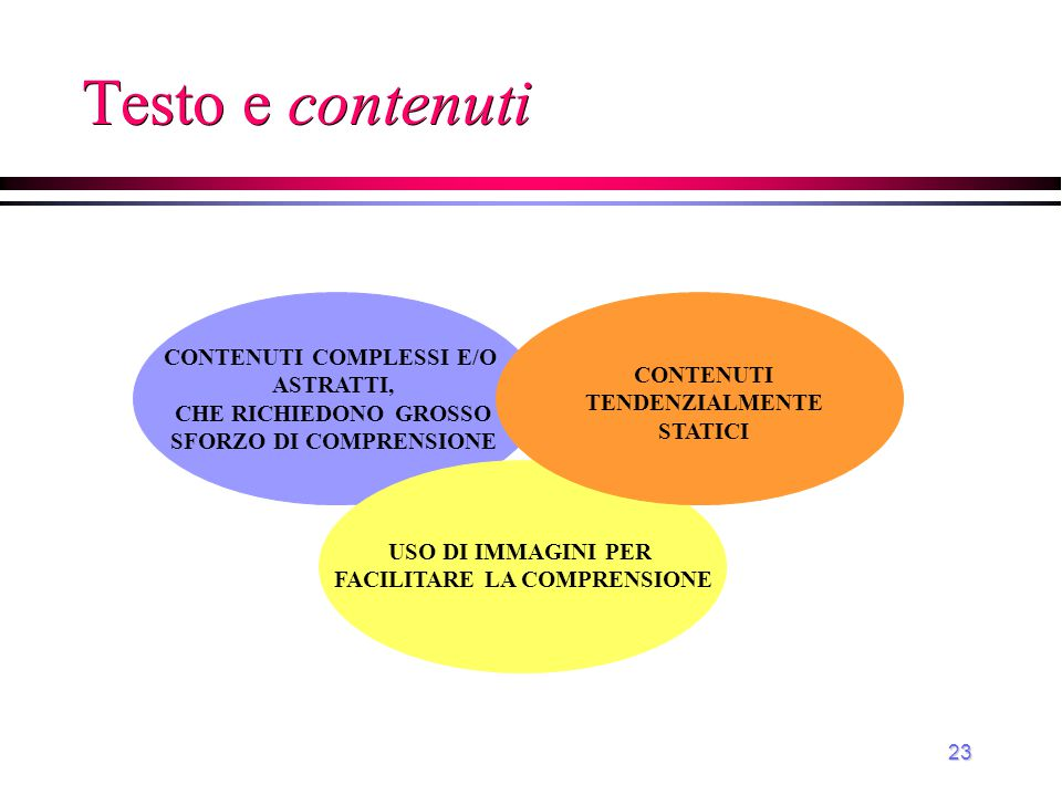 Testo e contenuti CONTENUTI COMPLESSI E/O ASTRATTI, CONTENUTI