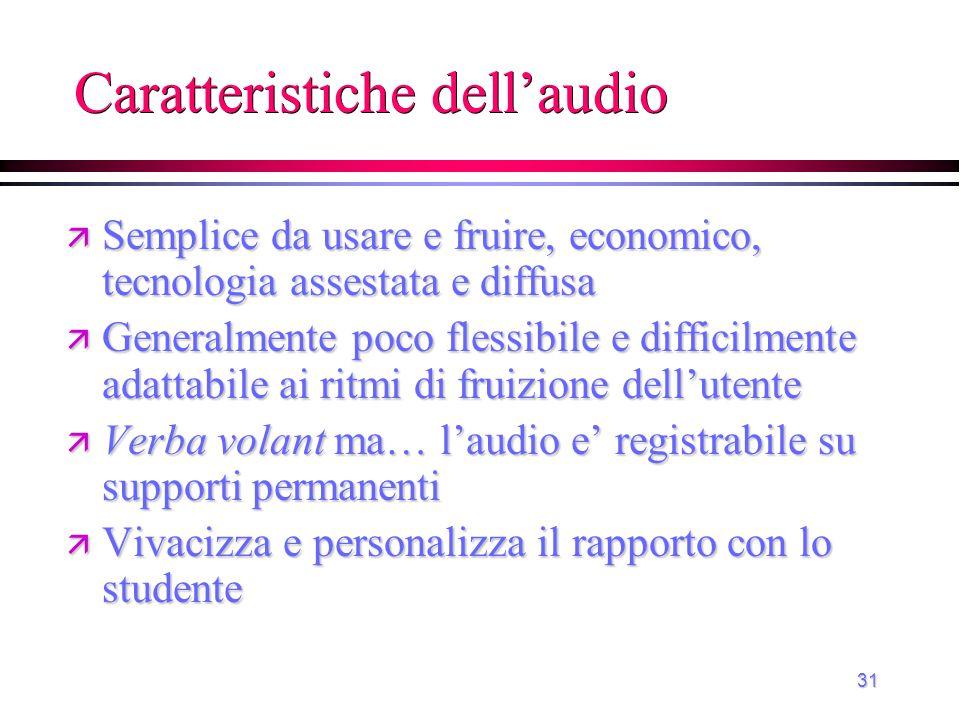 Caratteristiche dell'audio