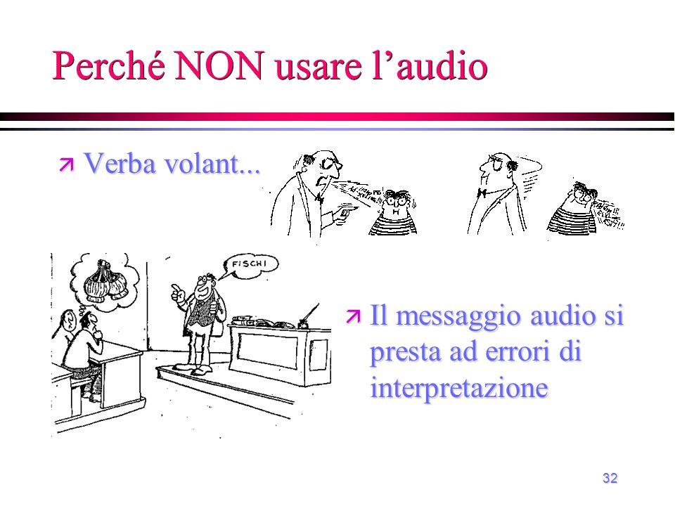 Perché NON usare l'audio