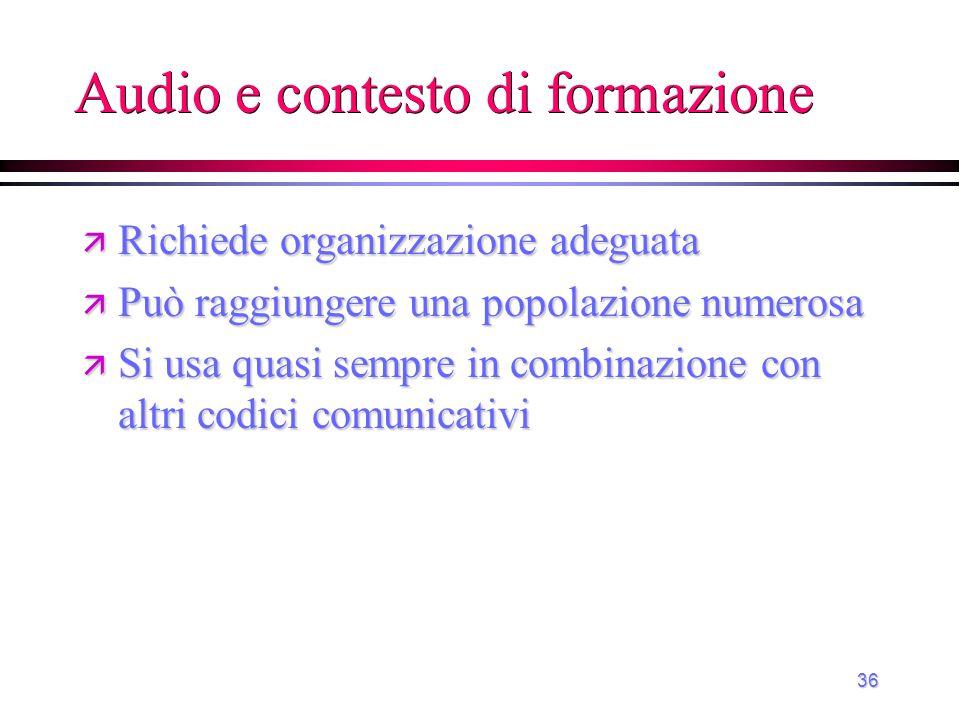 Audio e contesto di formazione