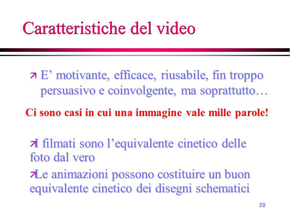 Caratteristiche del video