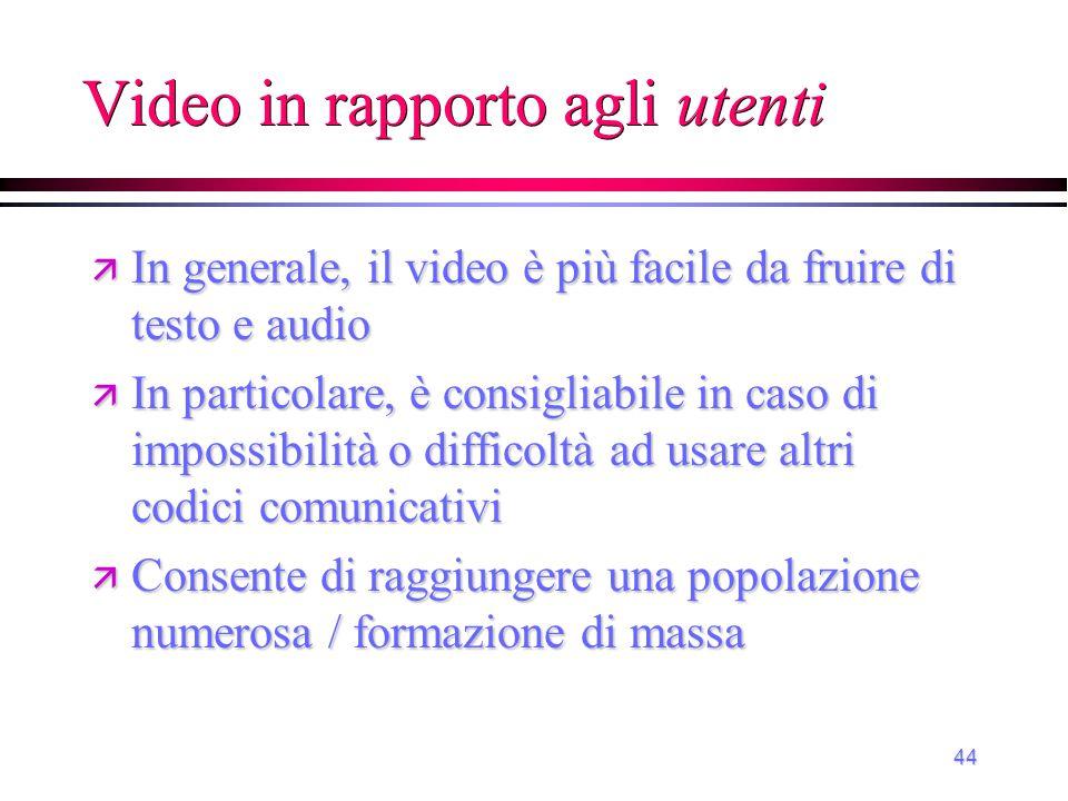 Video in rapporto agli utenti
