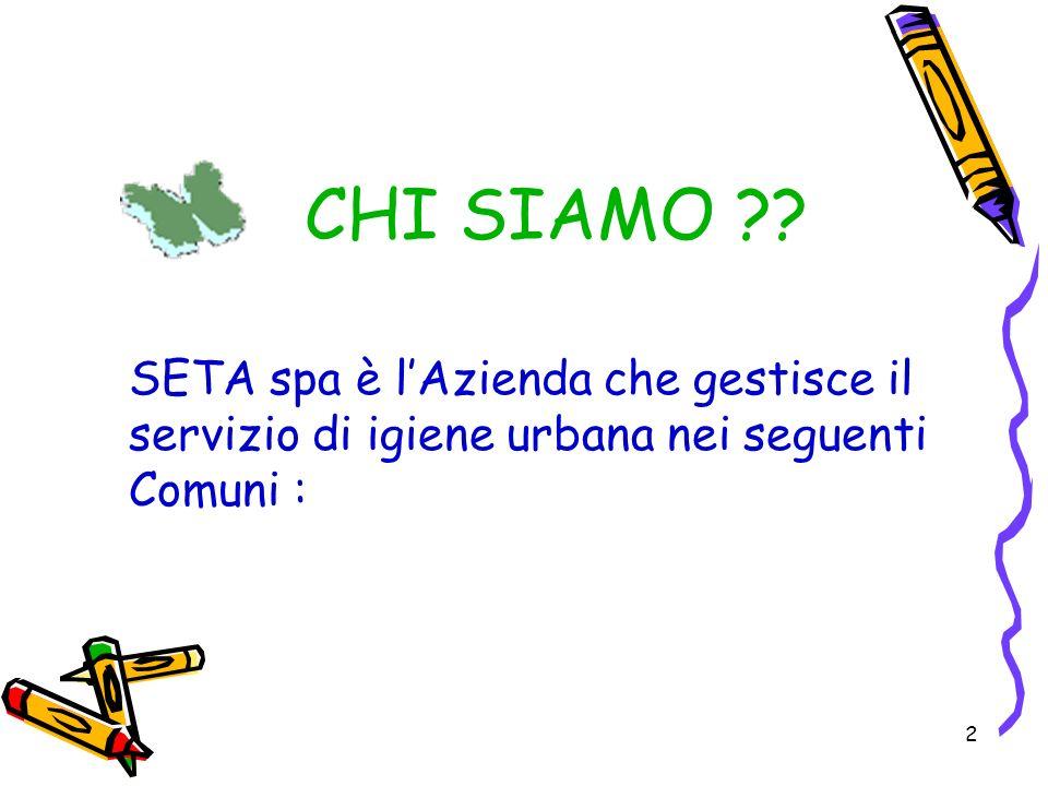 CHI SIAMO SETA spa è l'Azienda che gestisce il servizio di igiene urbana nei seguenti Comuni :