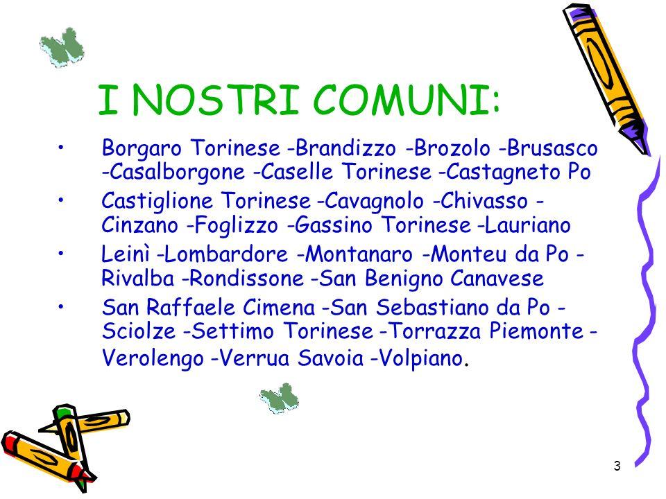 I NOSTRI COMUNI: Borgaro Torinese -Brandizzo -Brozolo -Brusasco -Casalborgone -Caselle Torinese -Castagneto Po.