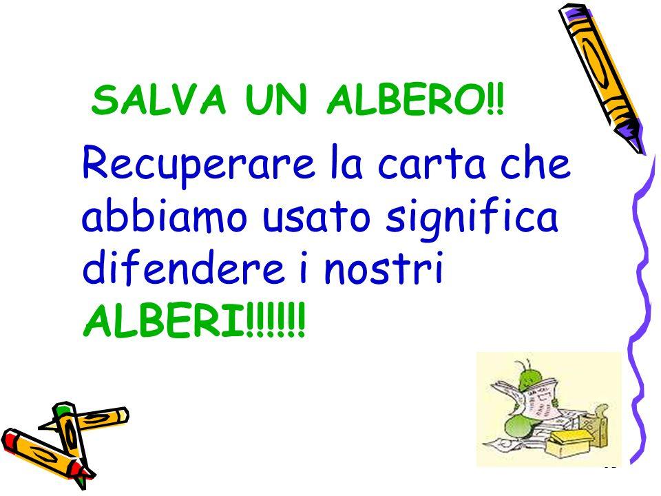 SALVA UN ALBERO!! Recuperare la carta che abbiamo usato significa difendere i nostri ALBERI!!!!!!