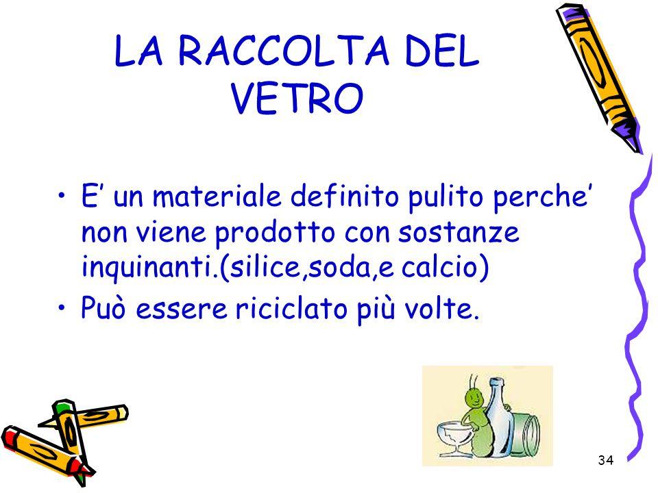 LA RACCOLTA DEL VETRO E' un materiale definito pulito perche' non viene prodotto con sostanze inquinanti.(silice,soda,e calcio)