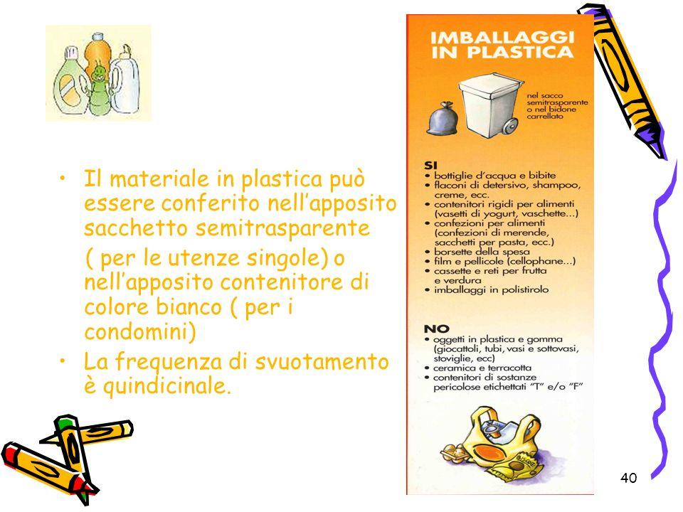 Il materiale in plastica può essere conferito nell'apposito sacchetto semitrasparente