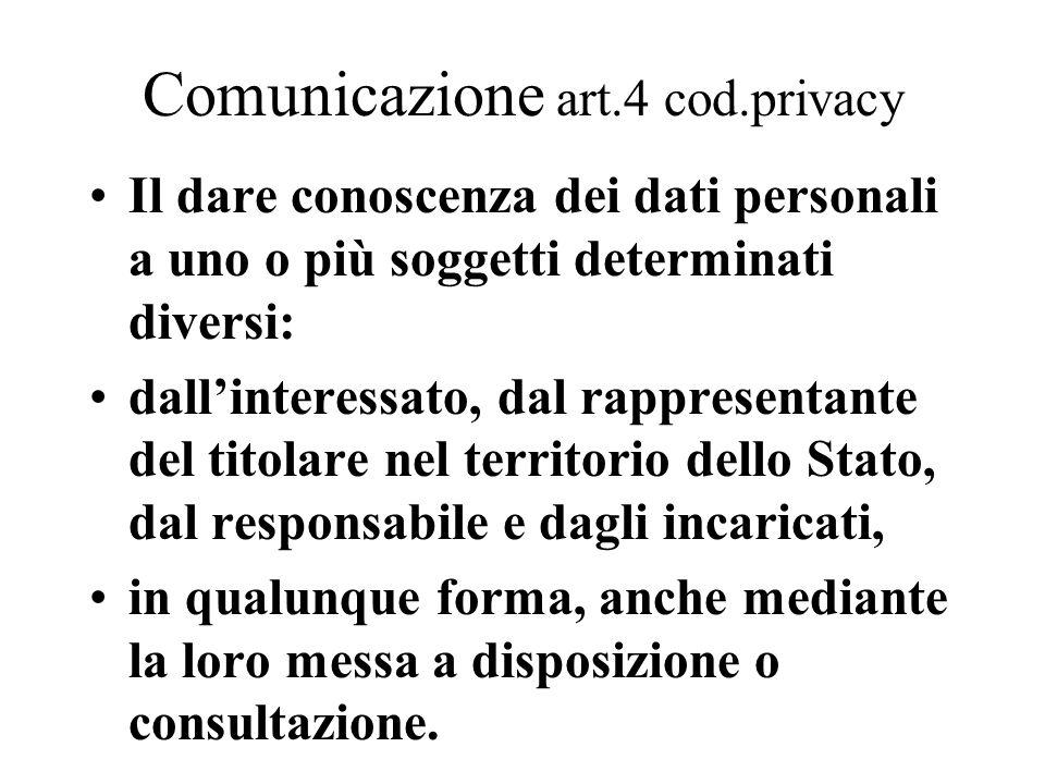 Comunicazione art.4 cod.privacy