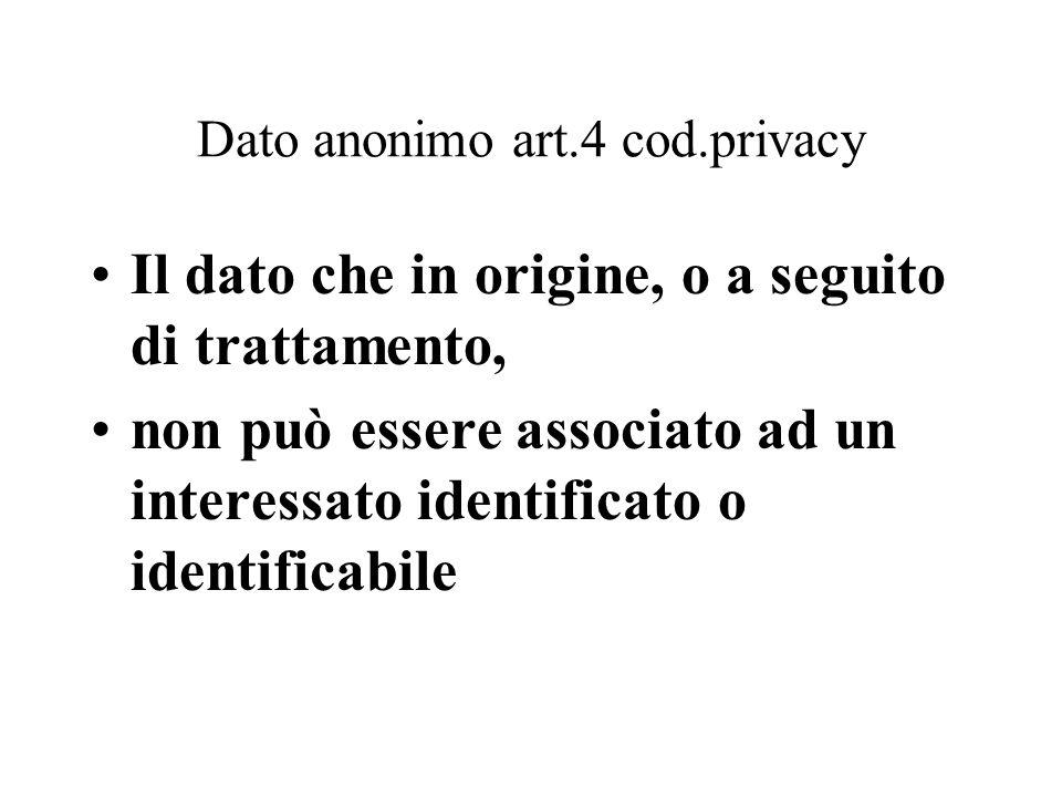 Dato anonimo art.4 cod.privacy