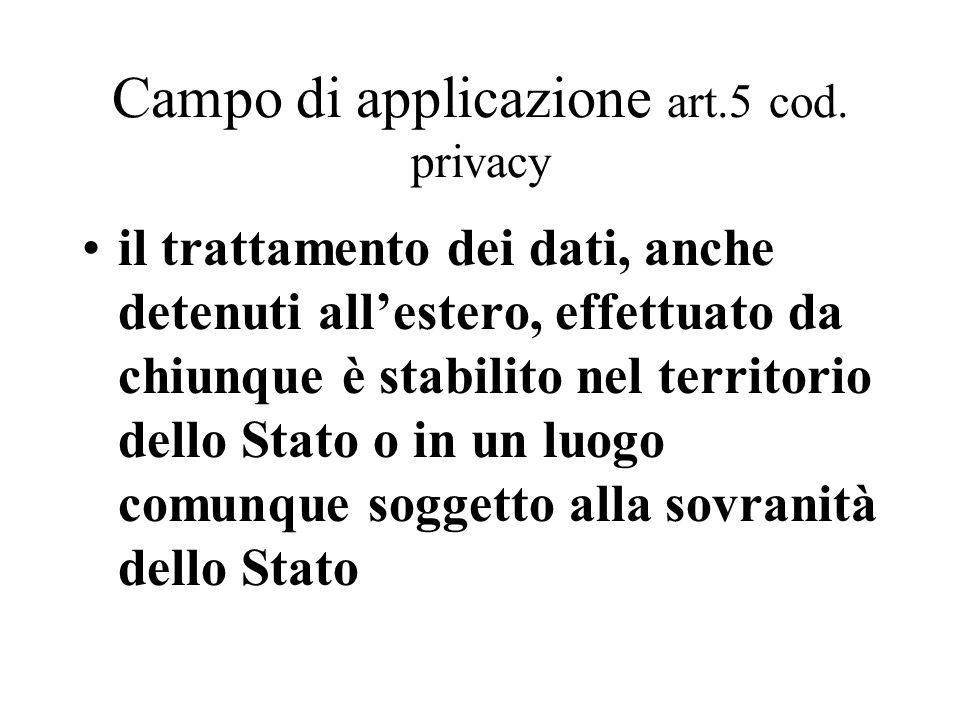 Campo di applicazione art.5 cod. privacy