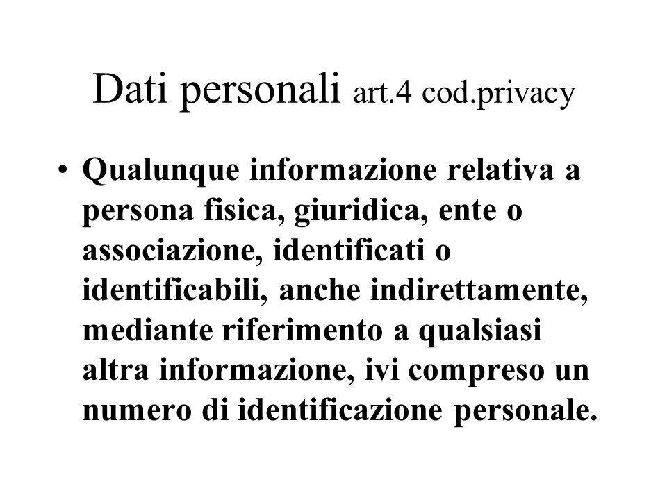 Dati personali art.4 cod.privacy
