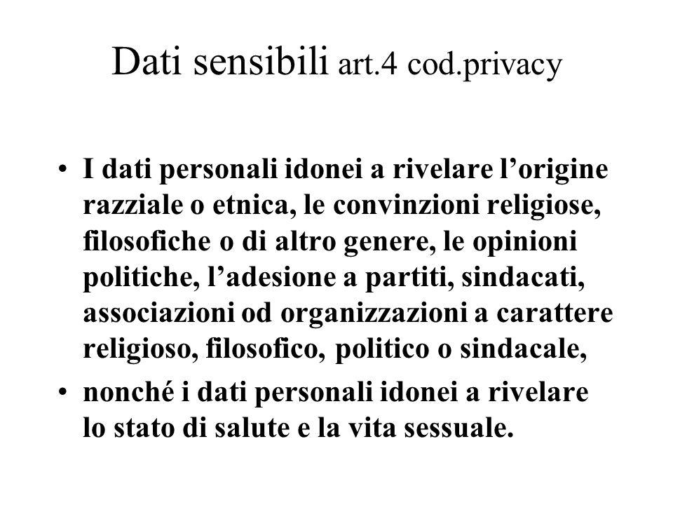 Dati sensibili art.4 cod.privacy